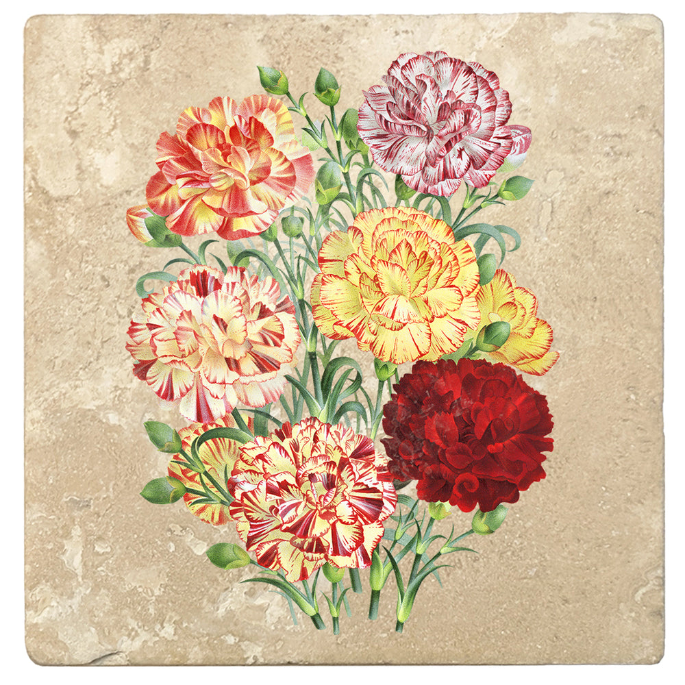 "Set of 4 Absorbent Stone 4"" Flower Designs Drink Coasters, Carnation Flower Bouquet"
