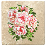 "Set of 4 Absorbent Stone 4"" Flower Designs Drink Coasters, Azalea Vervaeneana"