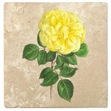 "Set of 4 Absorbent Stone 4"" Flower Designs Drink Coasters, Yellow Hybrid Rose"