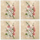 "Set of 4 Absorbent Stone 4"" Flower Designs Drink Coasters, Peach Blossom"