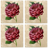 "Set of 4 Absorbent Stone 4"" Flower Designs Drink Coasters, Red Charm Peony"