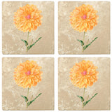"Set of 4 Absorbent Stone 4"" Flower Designs Drink Coasters, Dahlia King Of The Autumn"