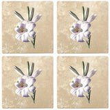 "Set of 4 Absorbent Stone 4"" Flower Designs Drink Coasters, White Lily"