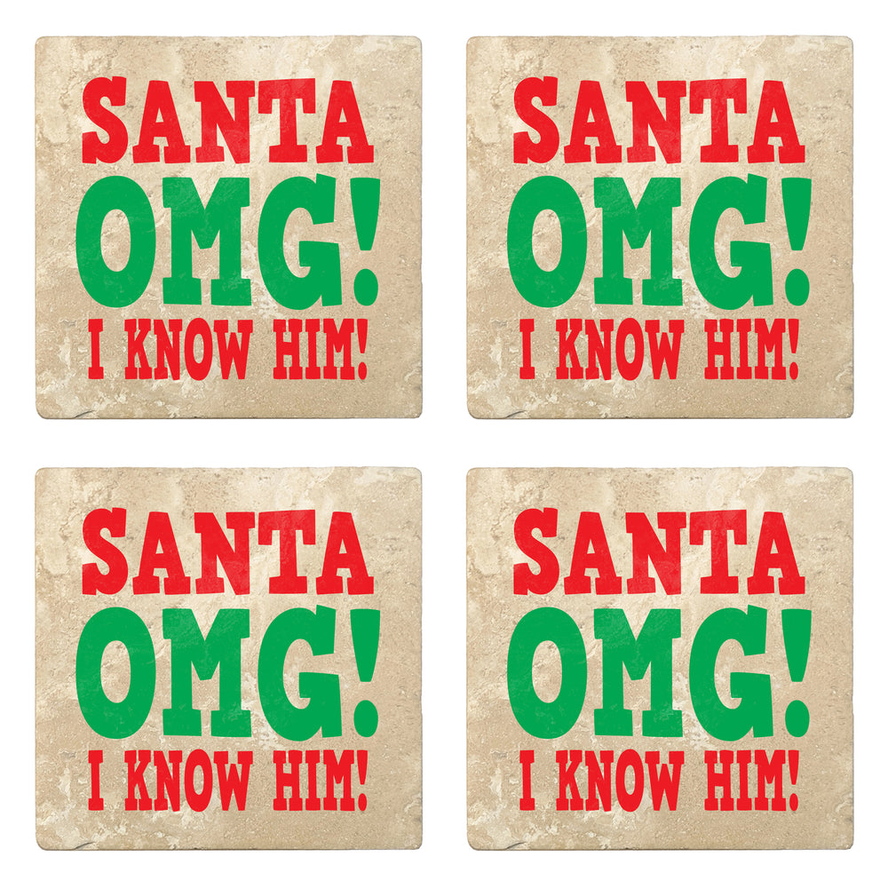 "Set of 4 Absorbent Stone 4"" Holiday Christmas Drink Coasters, Santa Omg! I Know Him!"