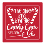 "Set of 4 Absorbent Stone 4"" Holiday Christmas Drink Coasters, The Olde Kris Kringle Candy Cane"