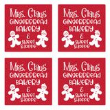 "Set of 4 Absorbent Stone 4"" Holiday Christmas Drink Coasters, Mrs Claus Gingerbread Bakery & Sweet Shoppe"