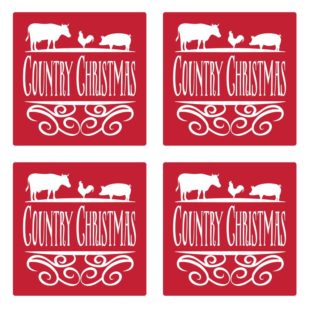 "Set of 4 Absorbent Stone 4"" Holiday Christmas Drink Coasters, Country Christmas"