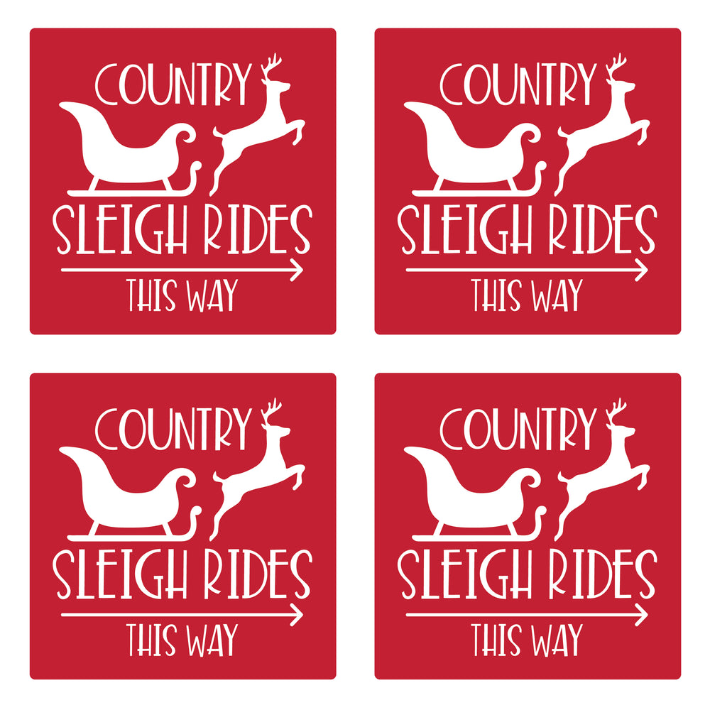 "Set of 4 Absorbent Stone 4"" Holiday Christmas Drink Coasters, Country Sleigh Rides This Way"