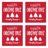 "Set of 4 Absorbent Stone 4"" Holiday Christmas Drink Coasters, Freshly Cut Christmas Trees, Locally Gown"