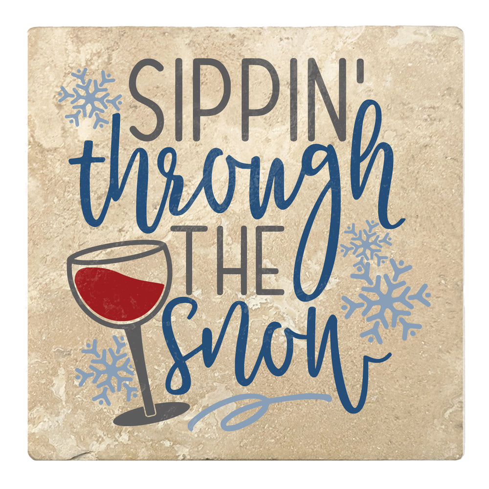 "Set of 4 Absorbent Stone 4"" Holiday Christmas Drink Coasters, Sippin Through The Snow"