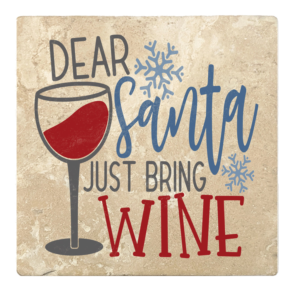 "Set of 4 Absorbent Stone 4"" Holiday Christmas Drink Coasters, Dear Santa Just Bring Wine"