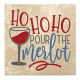 "Set of 4 Absorbent Stone 4"" Holiday Christmas Drink Coasters, Ho Ho Ho Pour The Merlot"