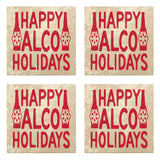 "Set of 4 Absorbent Stone 4"" Holiday Christmas Drink Coasters, Happy Alco Holidays"