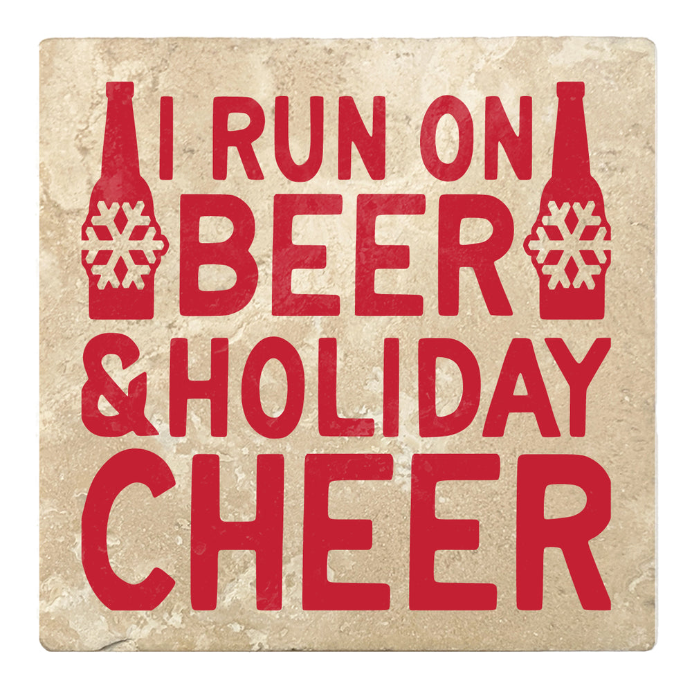 "Set of 4 Absorbent Stone 4"" Holiday Christmas Drink Coasters, I Run On Beer And Holiday Cheer"
