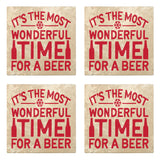 "Set of 4 Absorbent Stone 4"" Holiday Christmas Drink Coasters, Its The Most Wonderful Time For A Beer"