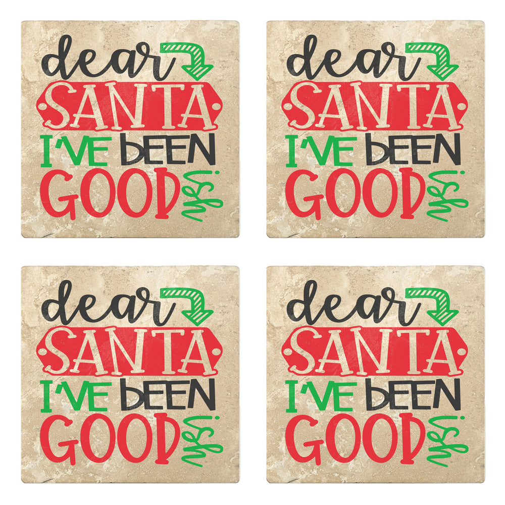 "Set of 4 Absorbent Stone 4"" Holiday Christmas Drink Coasters, Dear Santa I've Been Good"