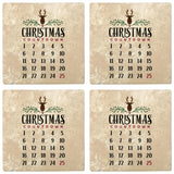 "Set of 4 Absorbent Stone 4"" Holiday Christmas Drink Coasters, Christmas Countdown Calendar"
