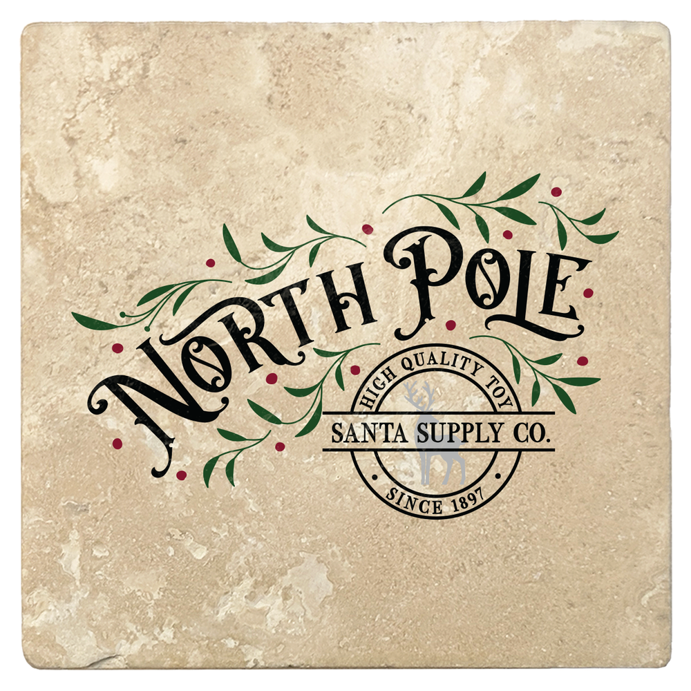 "Set of 4 Absorbent Stone 4"" Holiday Christmas Drink Coasters, North Pole Santa Supply Company"
