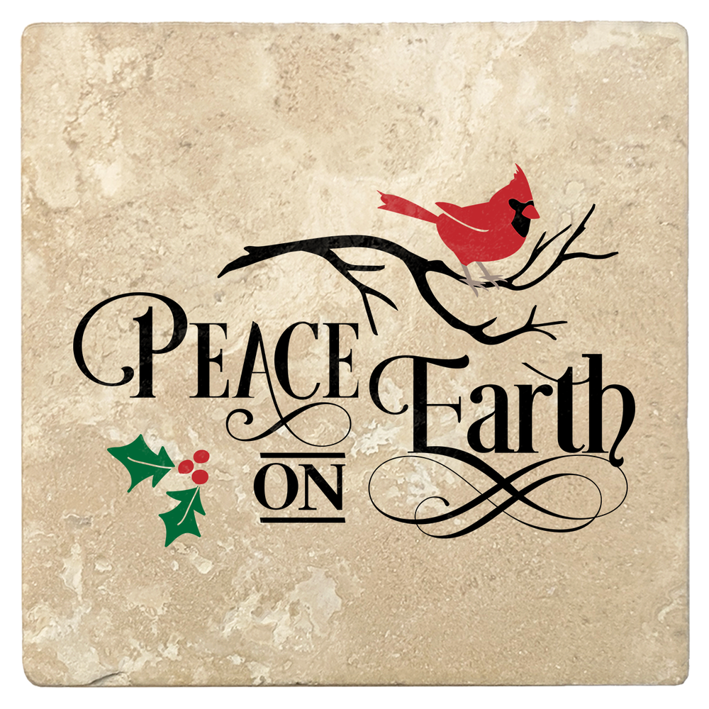 "Set of 4 Absorbent Stone 4"" Holiday Christmas Drink Coasters, Peace on Earth"