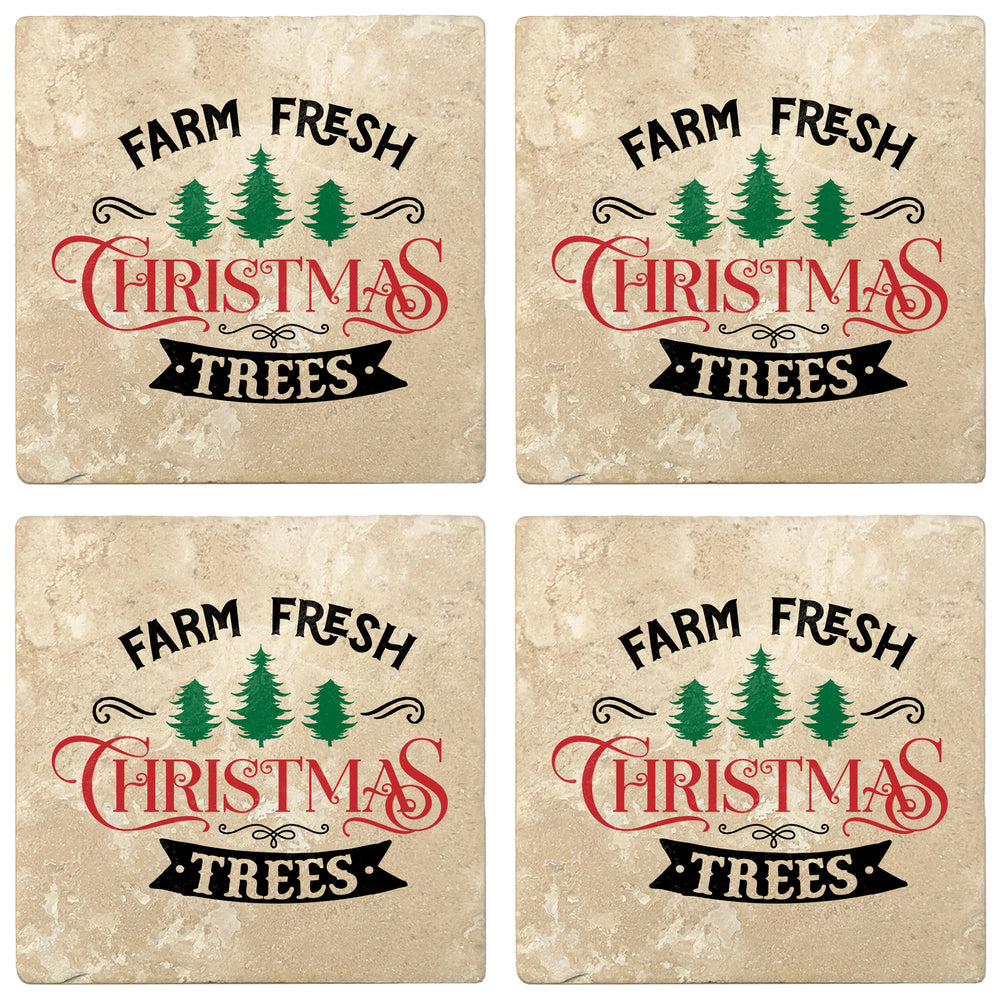 "Set of 4 Absorbent Stone 4"" Holiday Christmas Drink Coasters, Farm Fresh Christmas Trees"