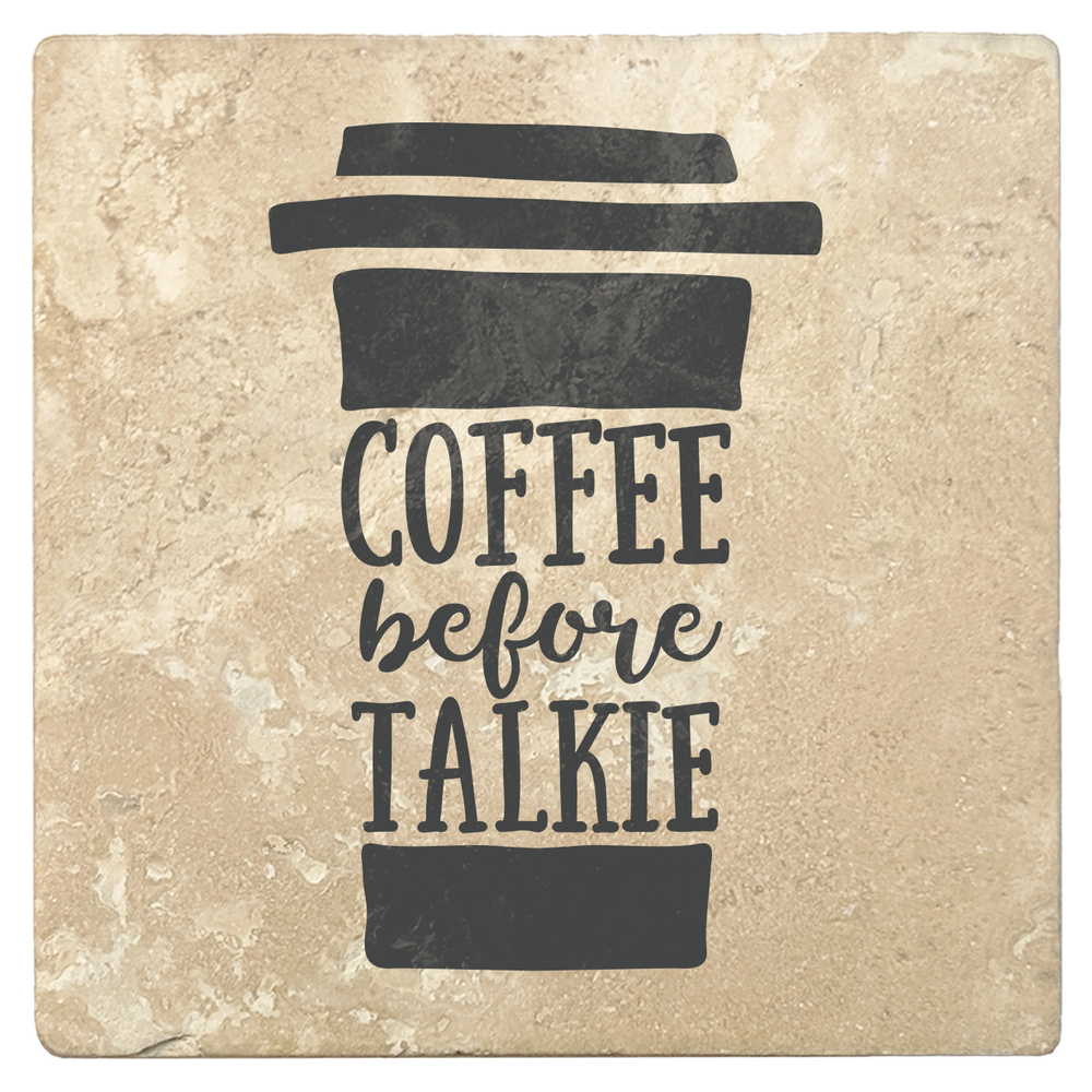 "Set of 4 Absorbent Stone 4"" Coffee Gift Coasters, Coffee Before Talkie"