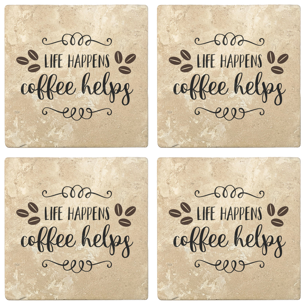 "Set of 4 Absorbent Stone 4"" Coffee Gift Coasters, Life Happens Coffee Helps"