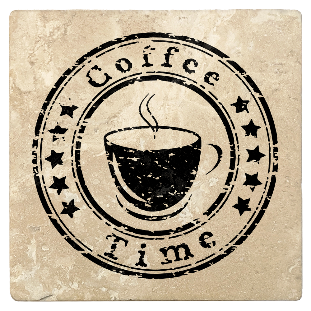 "Set of 4 Absorbent Stone 4"" Coffee Gift Coasters, Coffee Time"