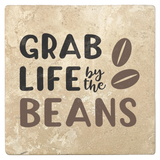 "Set of 4 Absorbent Stone 4"" Coffee Gift Coasters, Grab Life By The Beans"