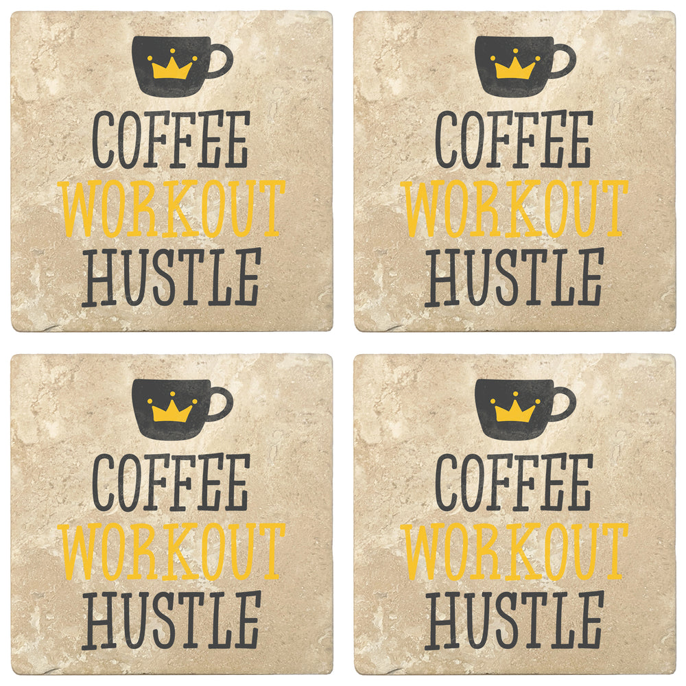 "Set of 4 Absorbent Stone 4"" Coffee Gift Coasters, Coffee Workout Hustle"