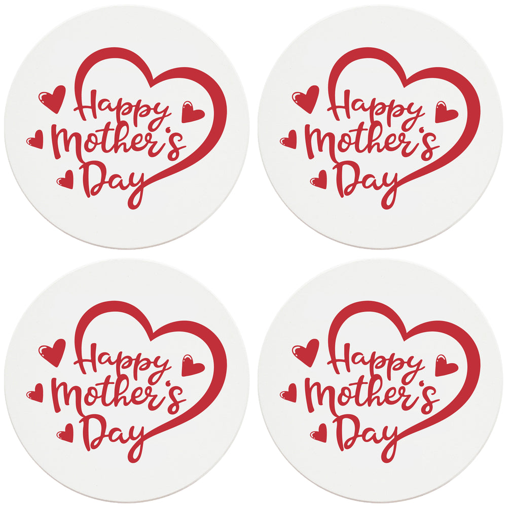 "4"" Round Ceramic Coasters - Happy Mothers Day Heart, Set of 4"