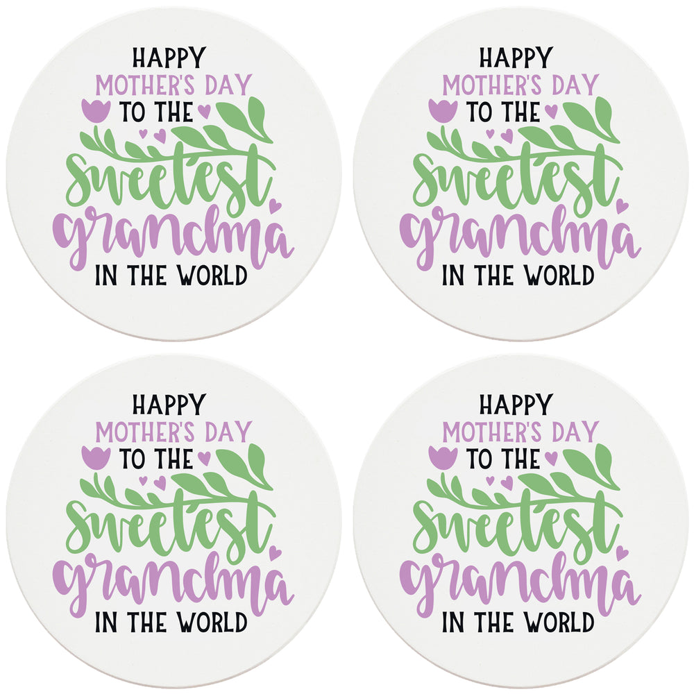 "4"" Round Ceramic Coasters - Happy Mothers Day Sweetest Grandma, Set of 4"