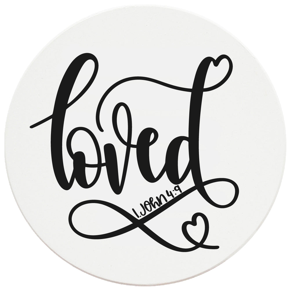 "4"" Round Ceramic Coasters - Loved, Set of 4"