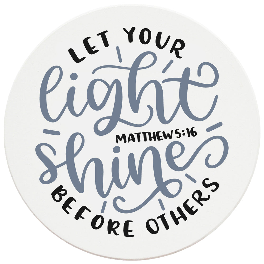 "4"" Round Ceramic Coasters - Let Your Light Shine, Set of 4"
