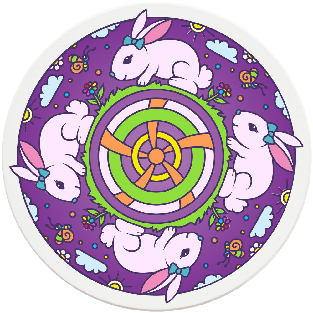 "4"" Round Absorbent Ceramic Designer Coasters - Mandala Bunny, Set of 4"