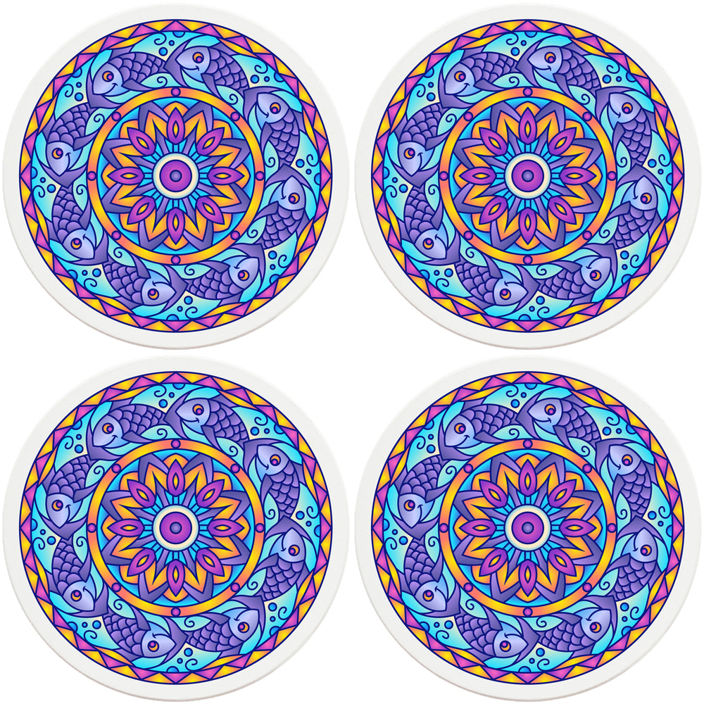 "4"" Round Absorbent Ceramic Designer Coasters - Mandala Fish, Set of 4"