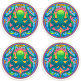 "4"" Round Absorbent Ceramic Designer Coasters - Mandala Octopus, Set of 4"