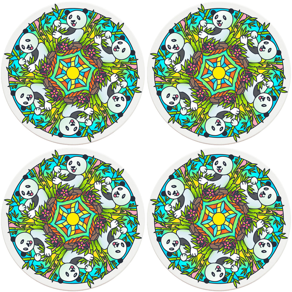 "4"" Round Absorbent Ceramic Designer Coasters - Mandala Panda, Set of 4"