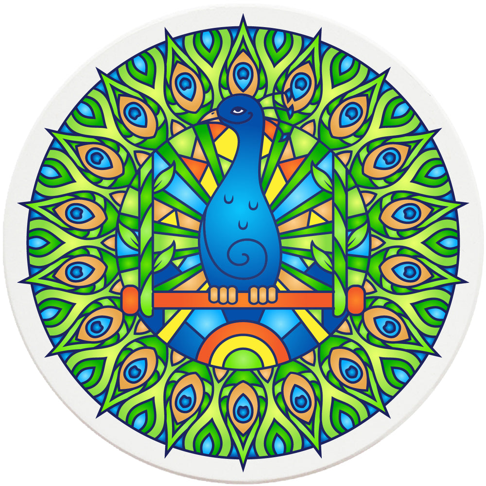 "4"" Round Absorbent Ceramic Designer Coasters - Mandala Peacock, Set of 4"