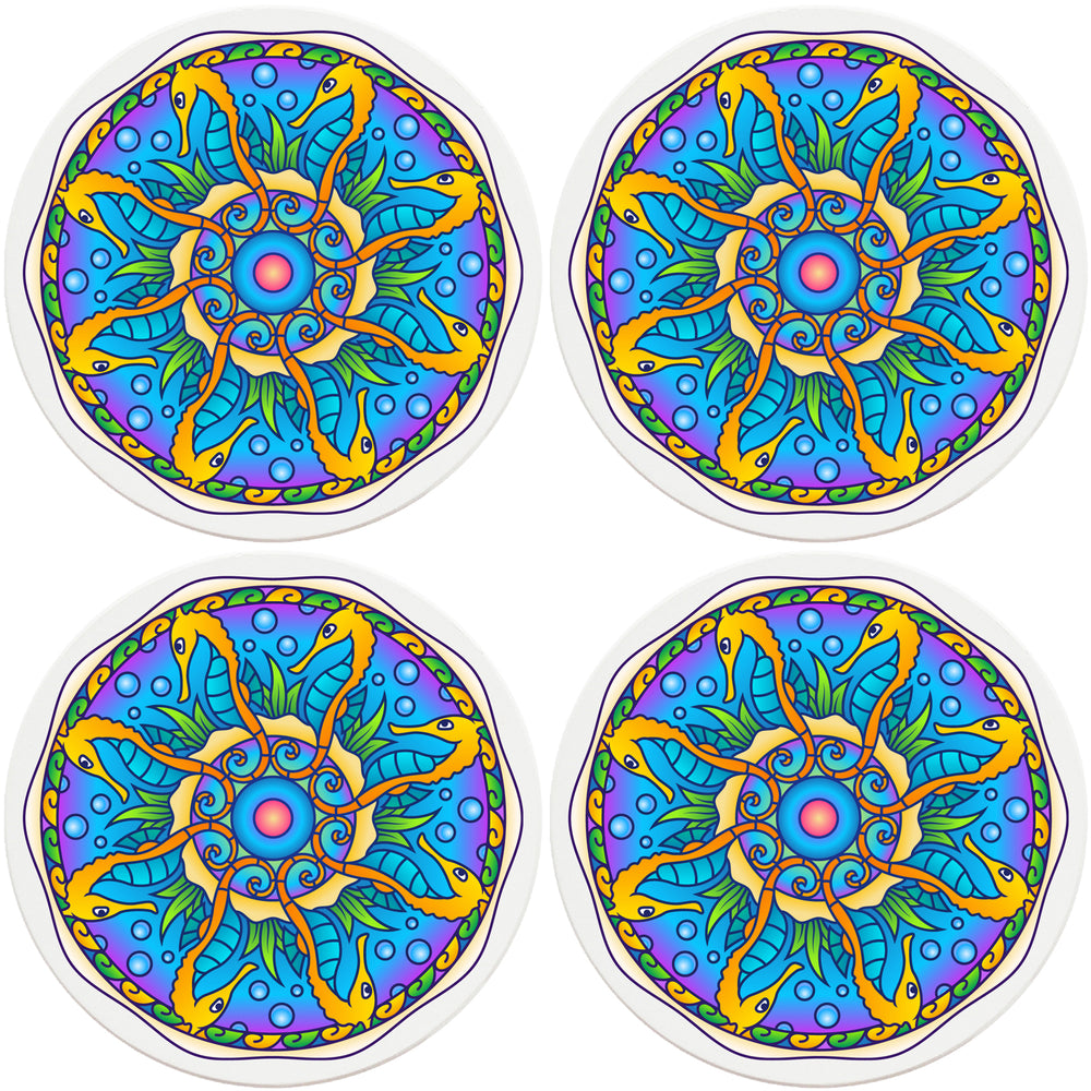 "4"" Round Absorbent Ceramic Designer Coasters - Mandala Seahorse, Set of 4"