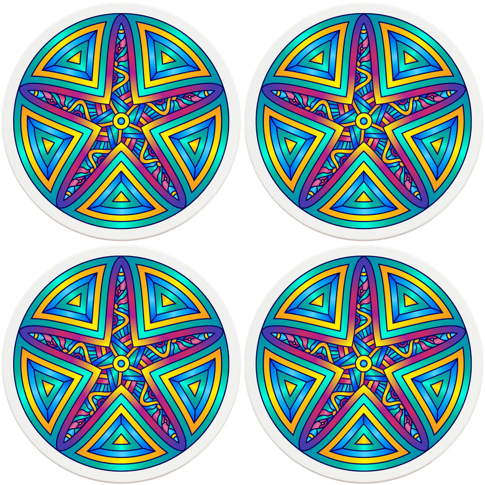 "4"" Round Absorbent Ceramic Designer Coasters - Mandala Starfish, Set of 4"
