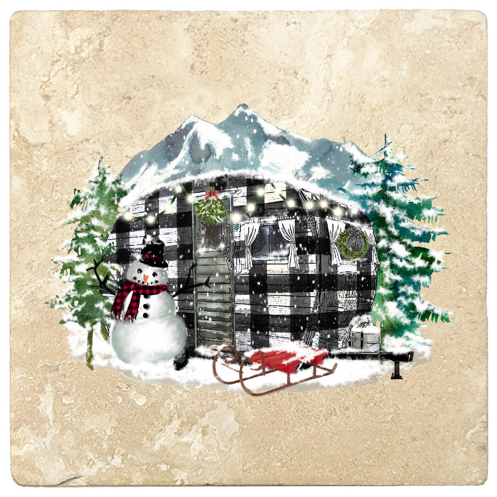 "[Set of 4] 4"" Premium Absorbent Travertine Christmas Holiday - Plaid Camper"
