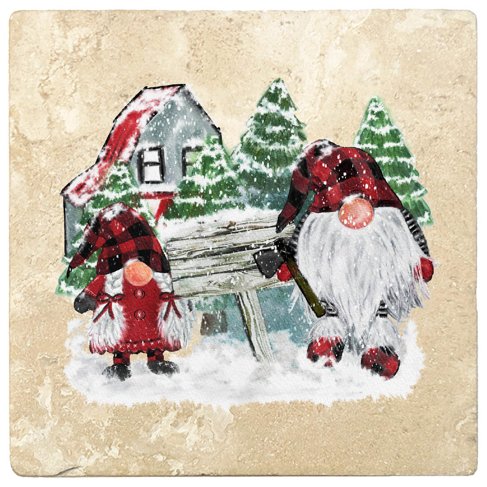 "[Set of 4] 4"" Premium Absorbent Travertine Christmas Holiday - Gnomes Winter Scene"