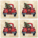 "[Set of 4] 4"" Premium Absorbent Travertine Christmas Holiday - Back of Red Truck with Wreath and Christmas Tree"