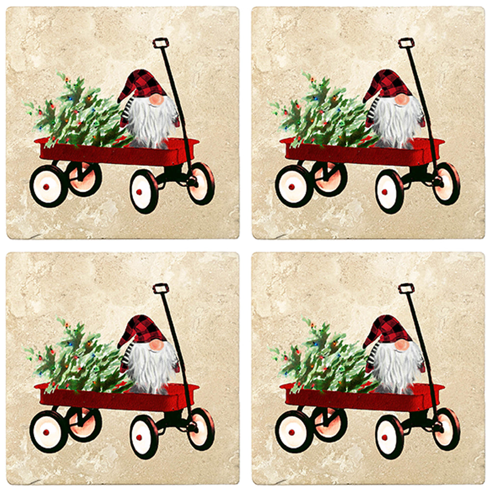 "[Set of 4] 4"" Premium Absorbent Travertine Christmas Holiday - Gnome in Handcart"