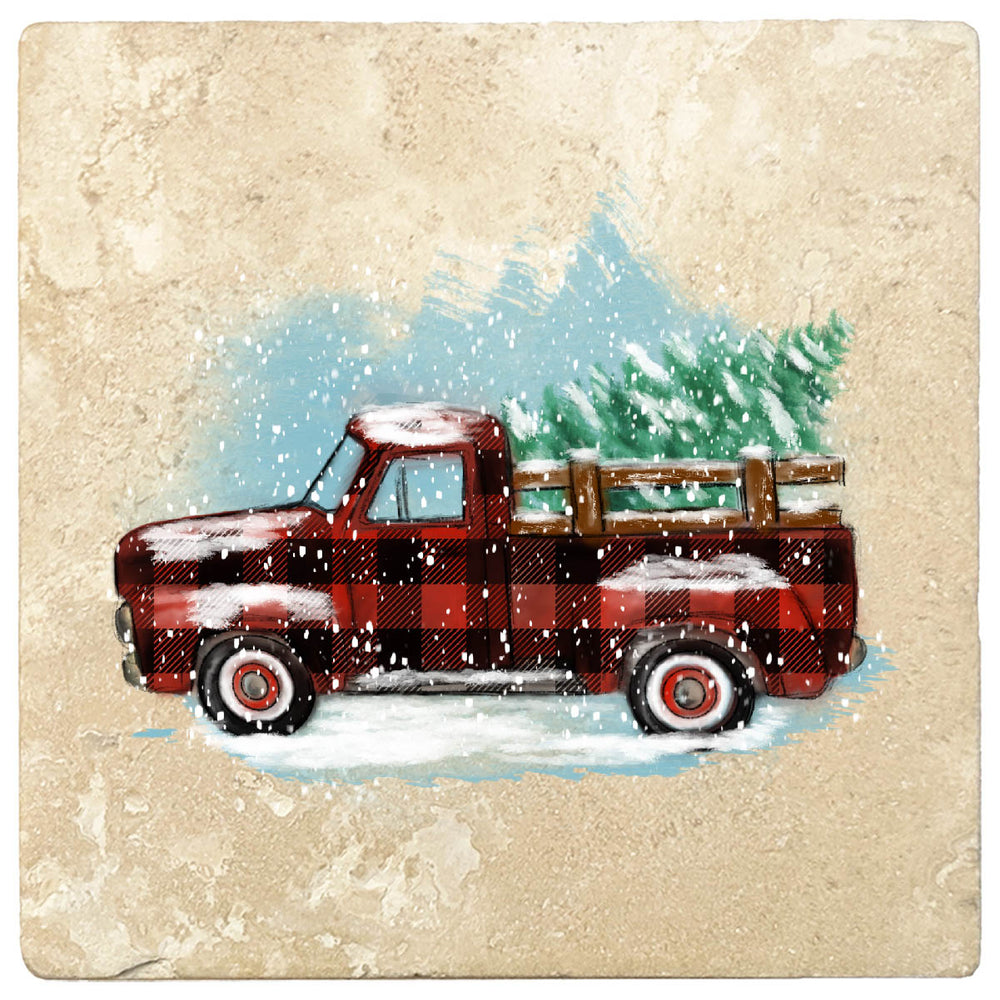 "[Set of 4] 4"" Premium Absorbent Travertine Christmas Holiday - Vintage Red Truck - Plaid"