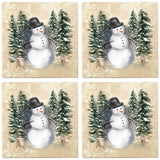 "[Set of 4] 4"" Premium Absorbent Travertine Christmas Holiday - Snowman in Woods"