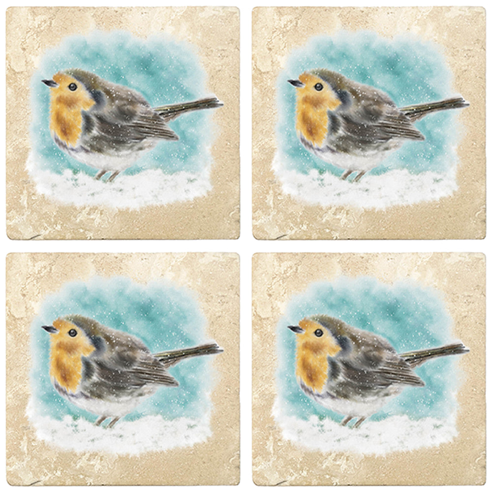 "[Set of 4] 4"" Premium Absorbent Travertine Christmas Holiday - Watercolor Bird"