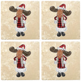 "[Set of 4] 4"" Premium Absorbent Travertine Christmas Holiday - Moose in Santa Costume"