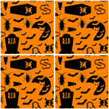 "[Set of 4] 4"" Premium Absorbent Ceramic Square Halloween Party Coaster - Black and Orange Halloween Pattern"