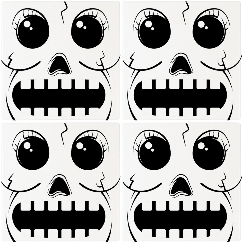 "[Set of 4] 4"" Premium Absorbent Ceramic Square Halloween Party Coaster - Skull Head"